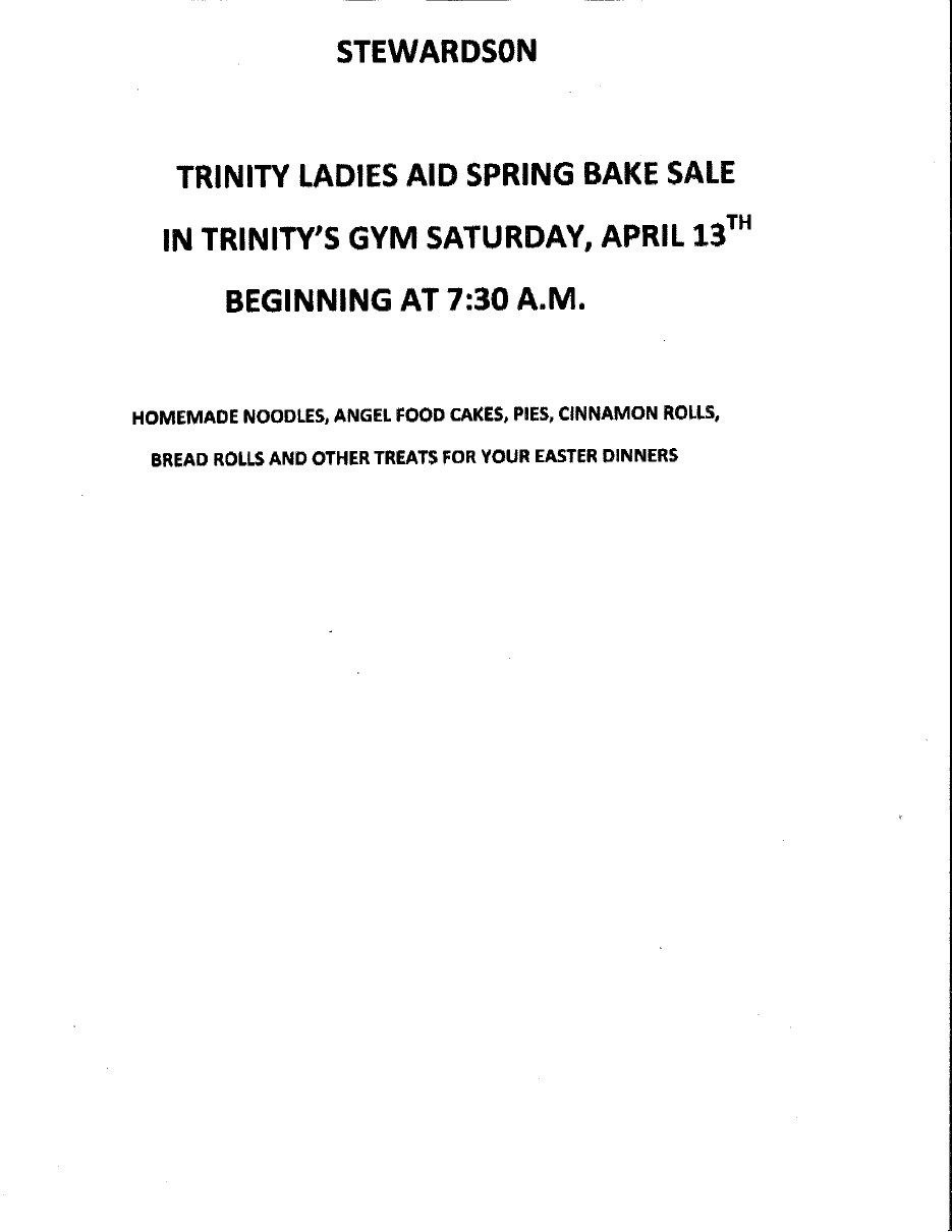 Stewardson Bake Sale Apr 13
