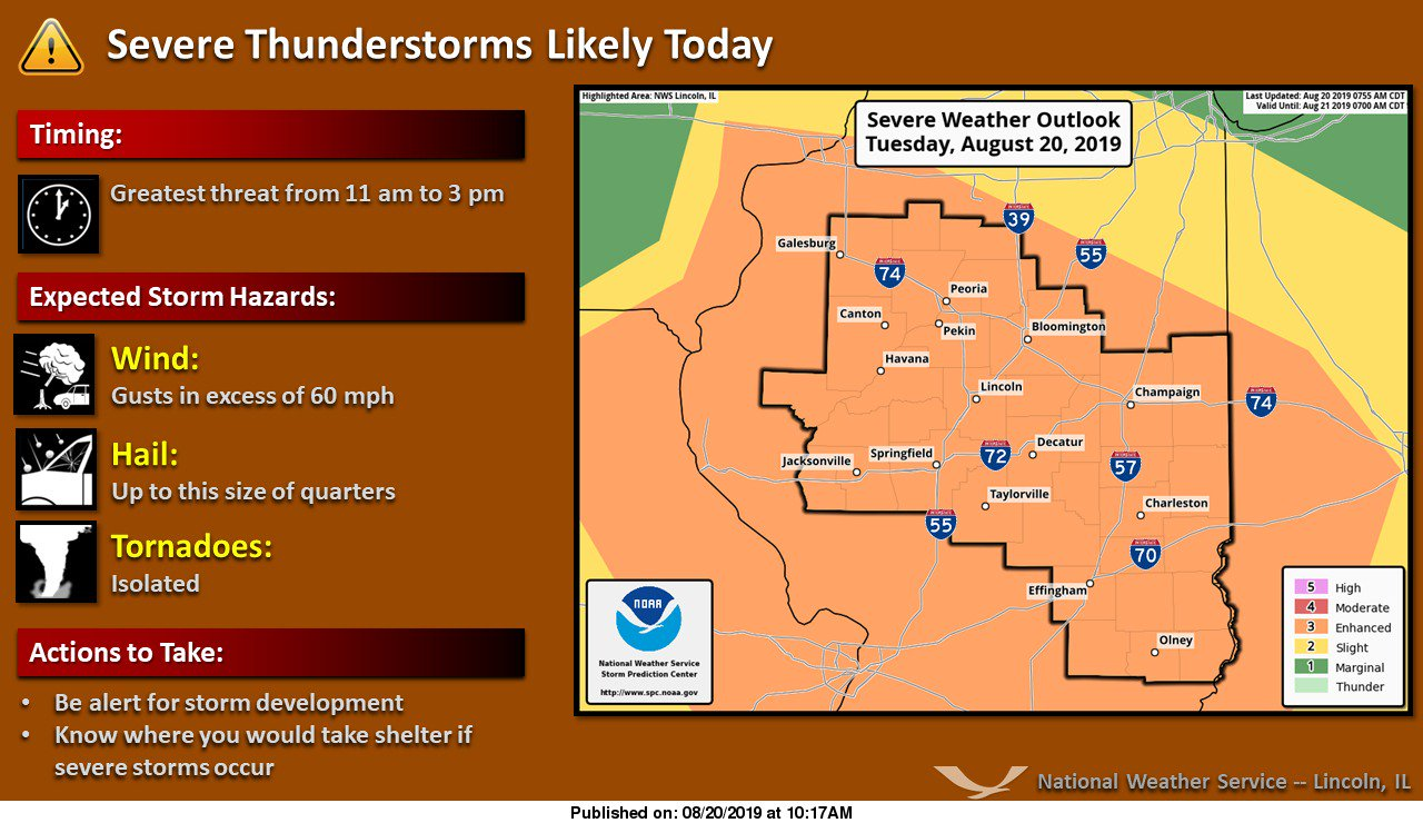 Strong storms expected in central Indiana Tuesday